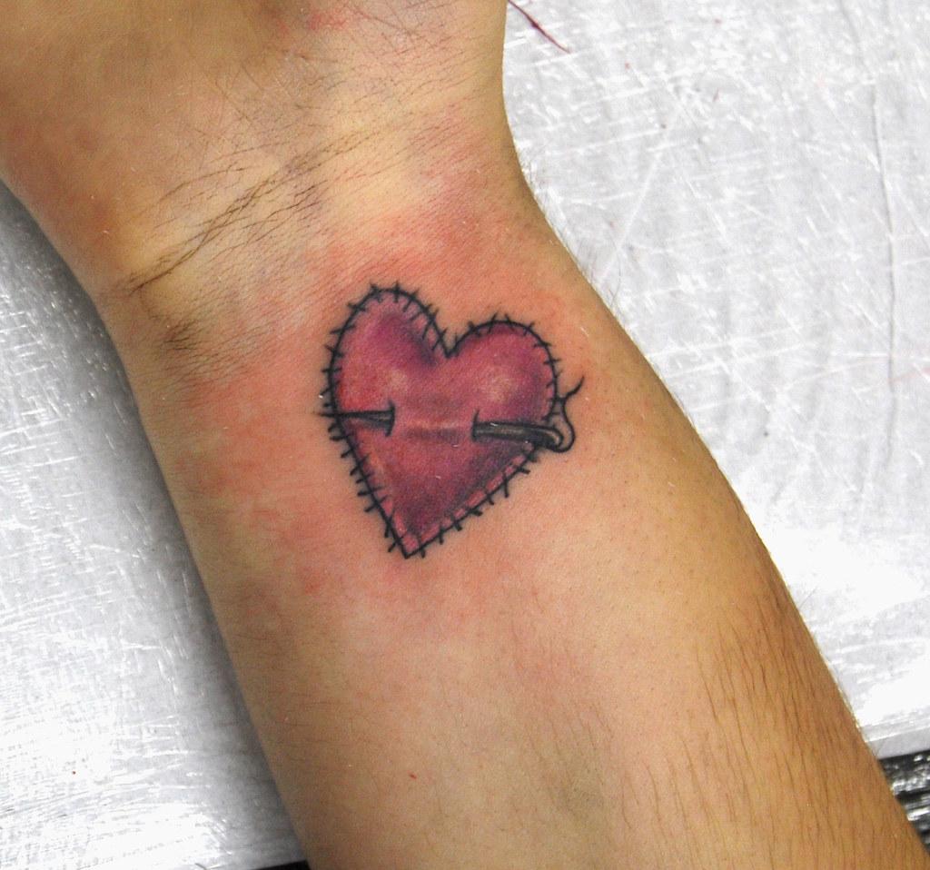 Stiched Heart Tattoo On Wrist