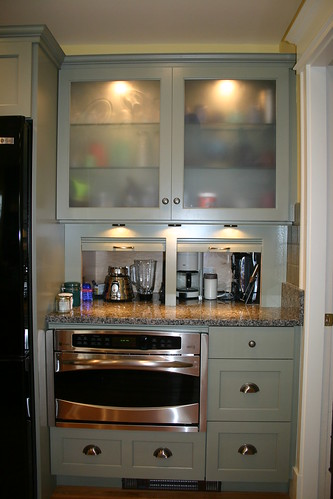 Cabinet unit with extra deep appliance garage recessed int ...
