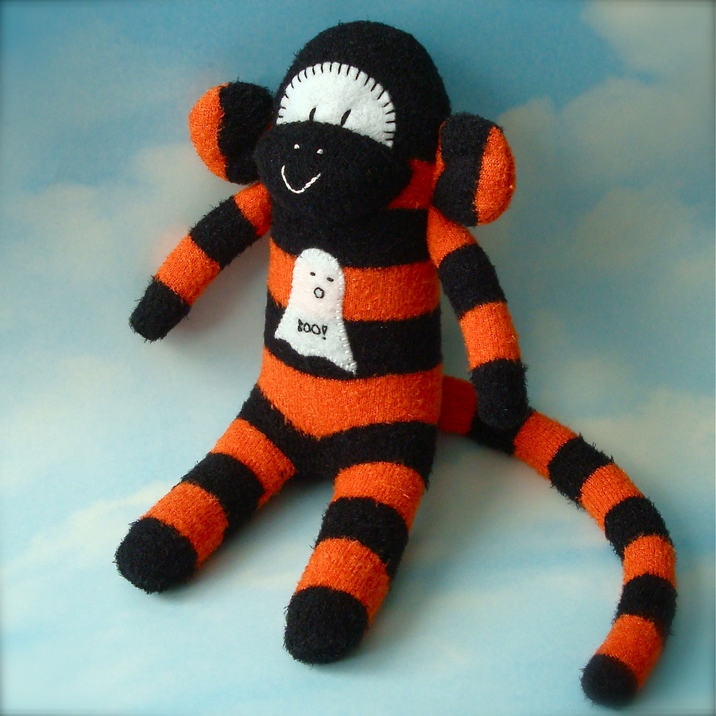 halloween sock monkey- boo! ghost | new sock monkey, just in… | flickr