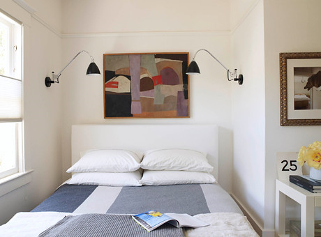 White Bedroom Wall Sconces : White bedroom + symmetry: Gray blanket + modern art + scon? Flickr
