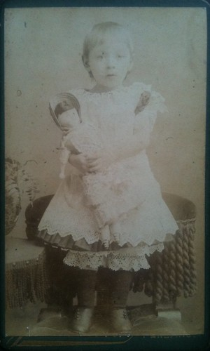 Girl in petticoats with doll cdv | by smokey lace