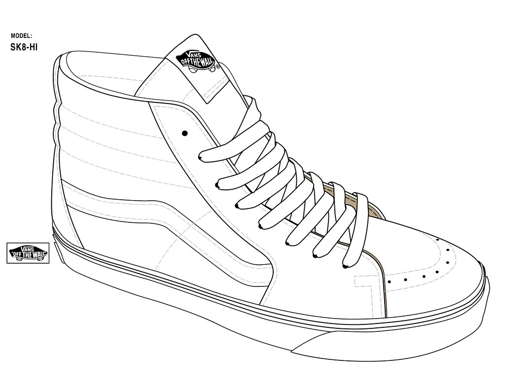 Line Drawing Shoes : Sk hi official templates straight from vans designers