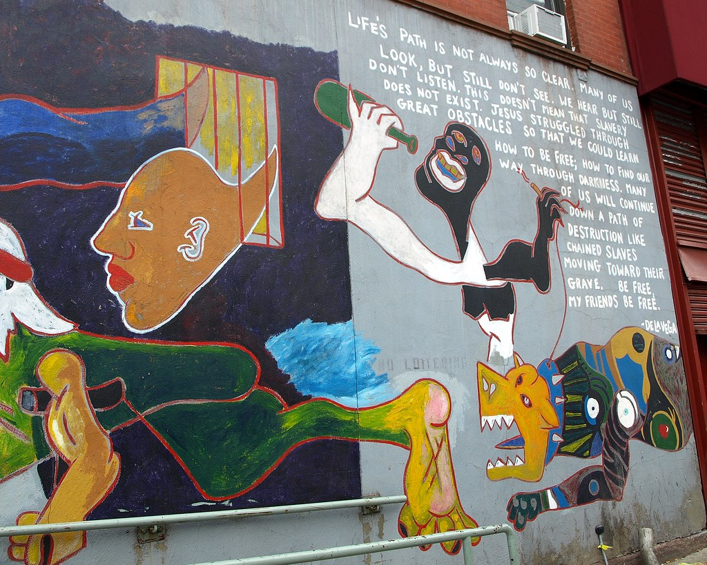James de la vega 39 s ode to picasso mural east harlem new for Mural guernica