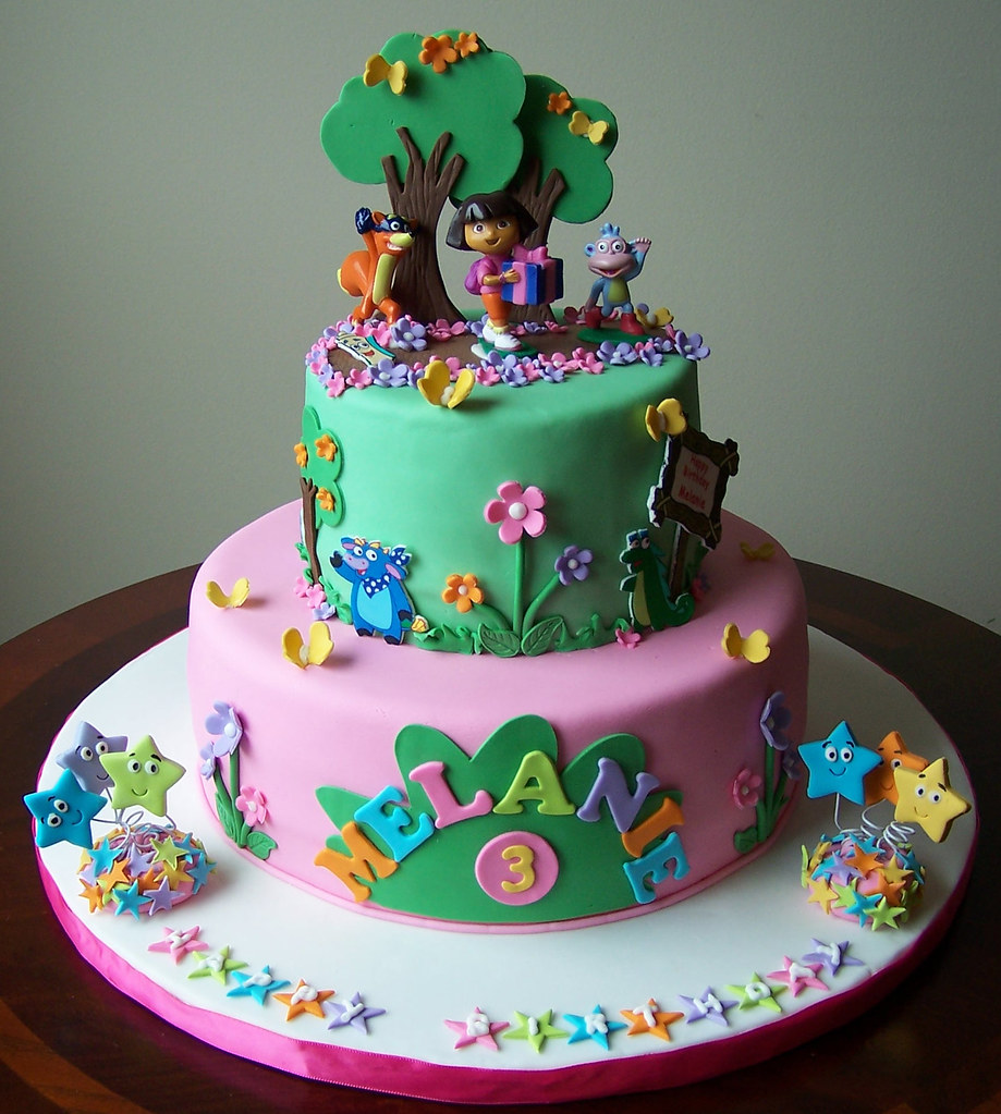 Dora the Explorer Cake This cake is a fondant and a smalle Flickr