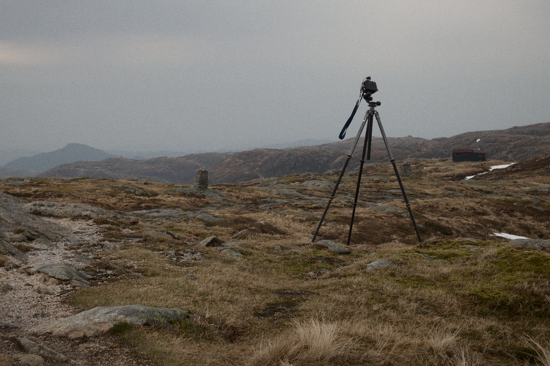 Camera on a tripod, outside in the wind, on a mountain.