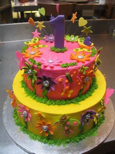 2 tier garden theme birthday cake charly 39 s bakery flickr for Gardening 80th birthday cake