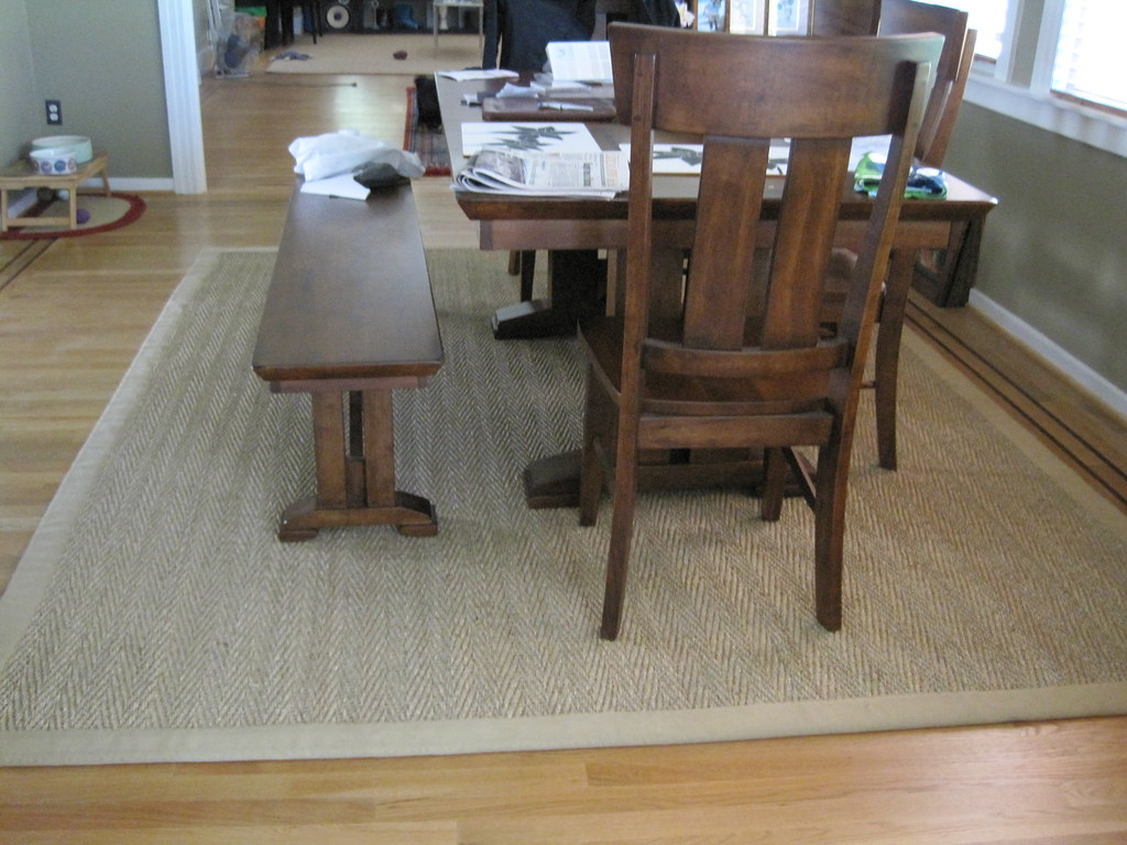 Sisal rug under the dining table lilszeto flickr for Dining table rug