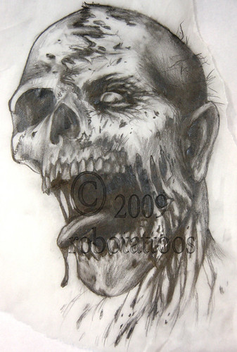 Zombie Face Line Drawing : Drawing for zombie my original sketch tattoo