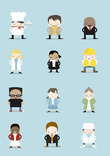 Character Design Using Illustrator : Character illustration set for top workplaces