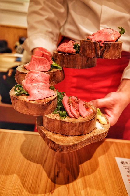 肉刺し 5種 タン,ハラミ,ミスジ,特上カルビ,ハツ 津田沼 焼肉寿司 41