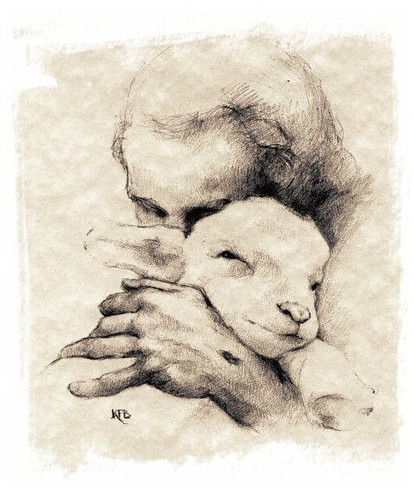 Instant Messages From World Without Fish Novel Fiction : Charcoal drawing jesus lamb tomfinken flickr