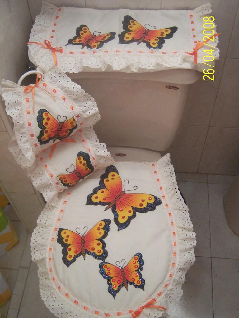 Juego de baño Mariposas  Juego de baño en pintura textil ...