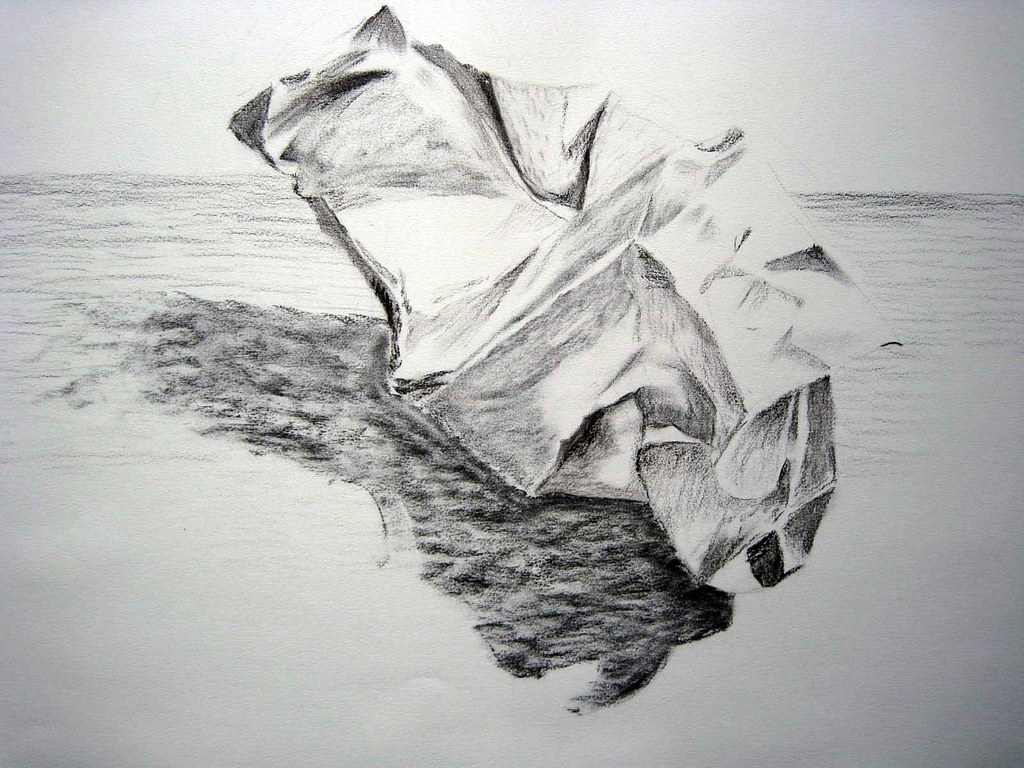 crumpled paper drawing | charcoal drawing of crumpled paper … | flickr