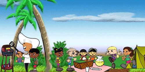 Cartoon Picnic Scene Picnic Scene With Cartoon