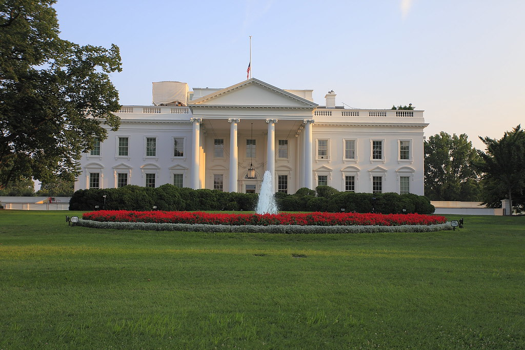 North lawn of the white house close up flag at half staff