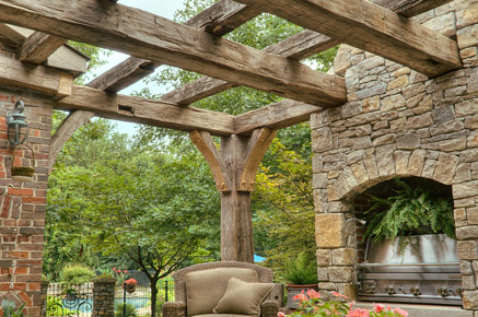 Pergola-Outdoor Fireplace-Pool-Reclaimed Beams copy | Flickr