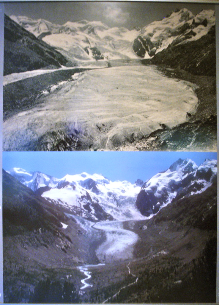 global warming before and after photo of pasterze glacier