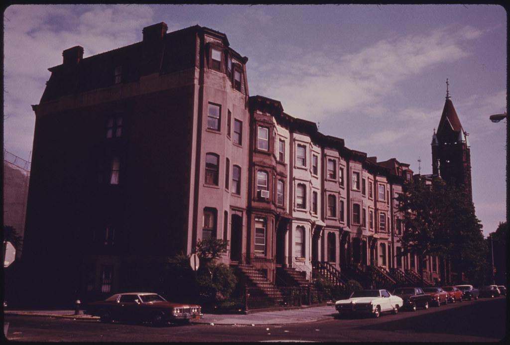 Block Of Brownstone Residences In Park Slope Of Brooklyn N
