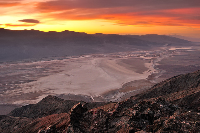 Sunset over Dante's View and Badwater Basin, Death Valley ...