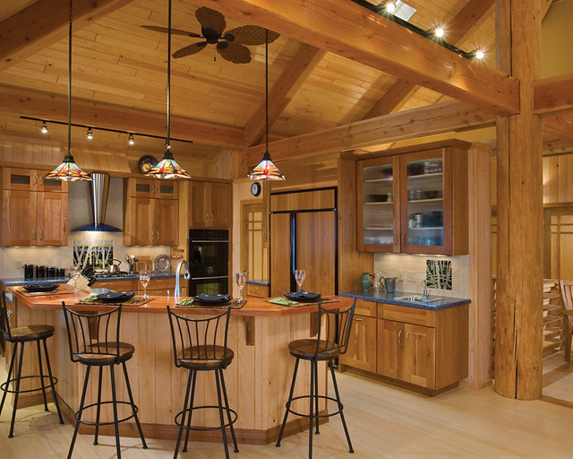 Modern timber living timber frame home kitchen the for Timber frame kitchen