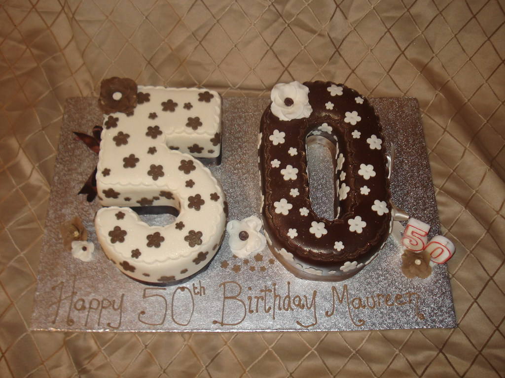 50th Birthday Cake Brown And Cream 50th Cake The Brown
