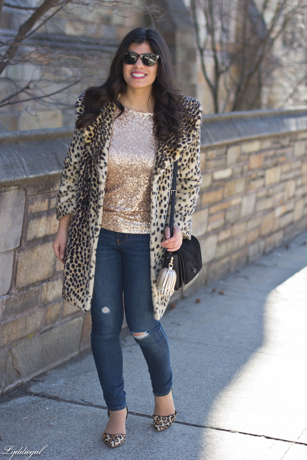 leopard fur coat, sequined top, kate spade bag-2.jpg