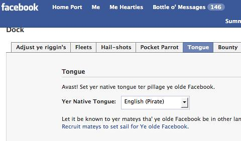 how to change language in facebook mobile