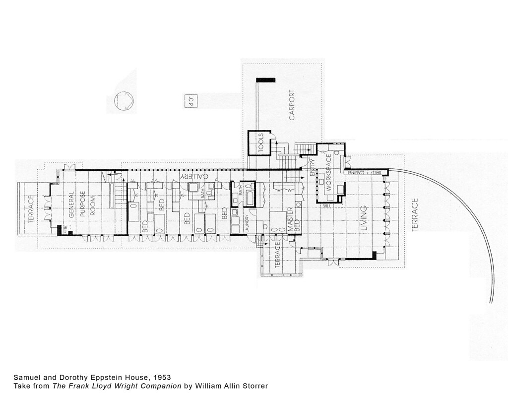 Samuel and dorothy eppstein house plan 1953 frank lloyd Frank lloyd wright house floor plans