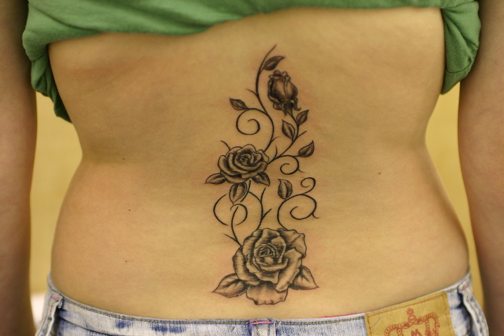 Roses and vines up spine tattoo tattooed by johnny at for Rose and vine tattoo