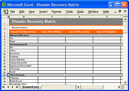 Disaster recovery matrix excel disaster recovery matrix for Disaster recovery testing template