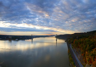 Mid-Hudson Bridge and the railroad; Sunrise in October | by Katy Silberger