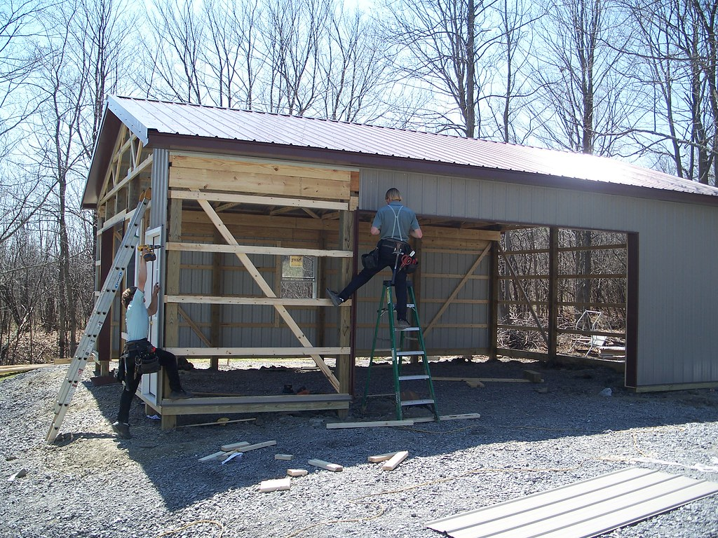 24x32x10 pole barn garage the metal is cut to size sans op u2026 flickr