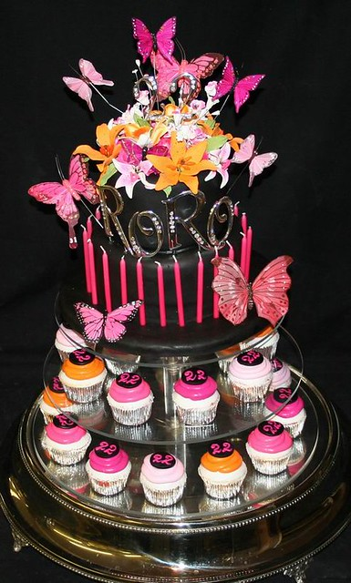 22nd Tiered Birthday Cake abd Cupcakes The twotiered birt Flickr