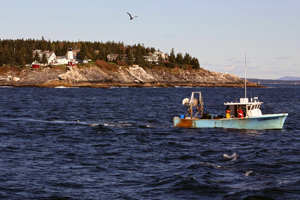 Lobster boat near pemaquid point maine a lobster boat for Fishing jobs near me