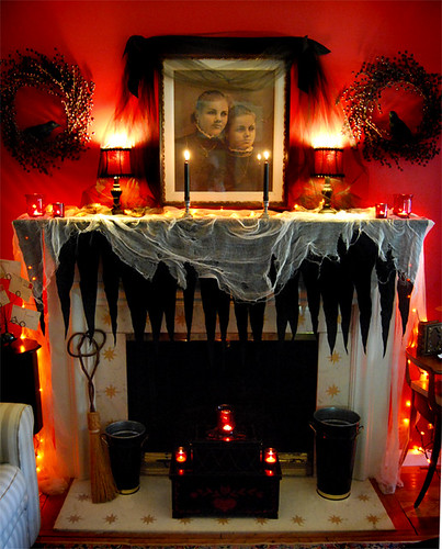 The mantle decorated for Halloween | by *jenny b allsorts