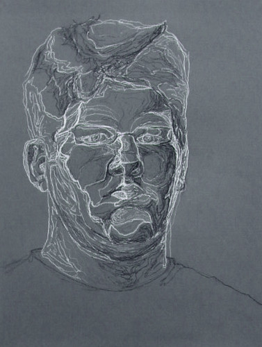 Blind Contour Line Drawing Self Portrait : Semi blind self portrait contour drawing caulk charcoal