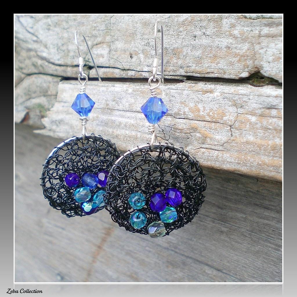 Blue Fire Polished Glass Wire Crochet Earrings | zeba collection ...