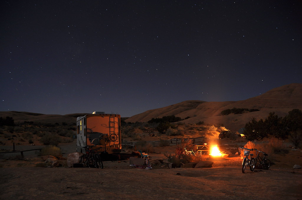 Night At Camp Stars Show In Large The Campsite At