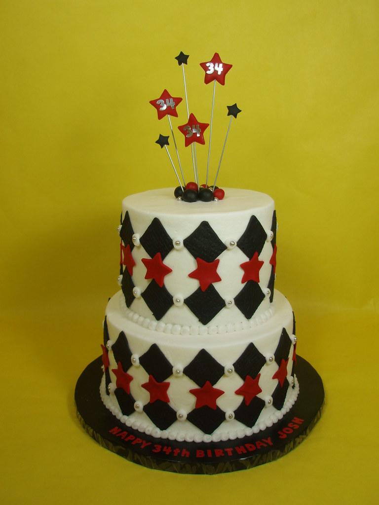 Masculine 34th Birthday Cake A Masculine Harlequin Design Flickr