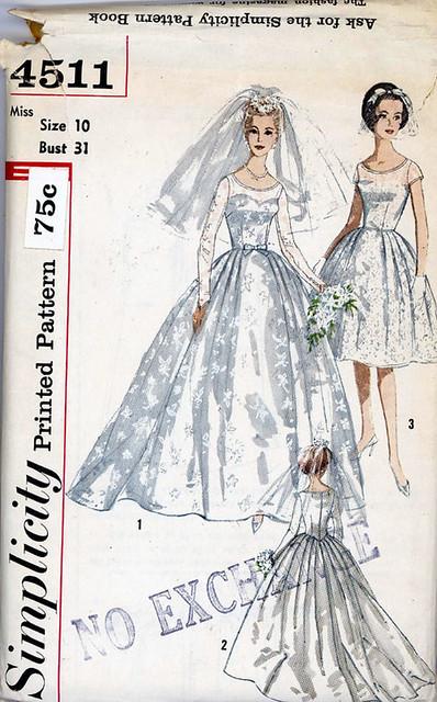 Simplicity 4511 1960 39 s wedding dress pattern vintage for Vintage wedding dress patterns free