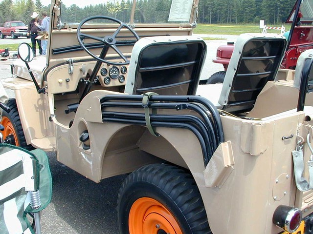 Willys Jeep CJ2A | Harvest Tan tub with Sunset Red wheels ...