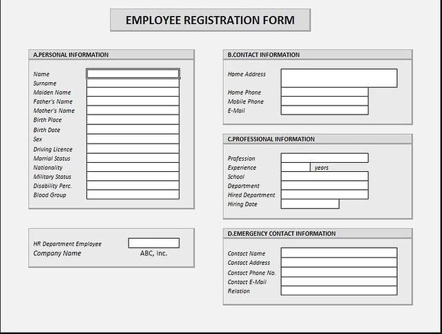 Employee Registration Form This is a form that may be used – Employee Registration Form