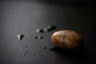 Wet pebble from the garden on black leather | by SimonDeanMedia