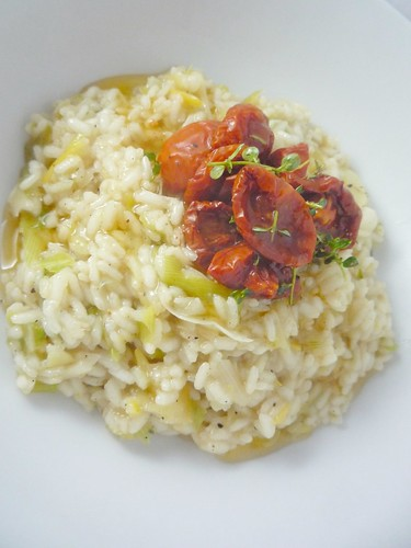 Wet Garlic and Preserved Lemon Risotto with Slow Roasted T