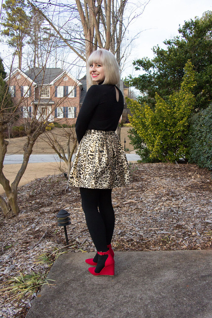 Black Top, Metallic Gold Leopard Skirt, Red Wedges