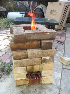 Improvised dry stacked brick rocket stove 2009 Aug IMG_0005 | by wsssst
