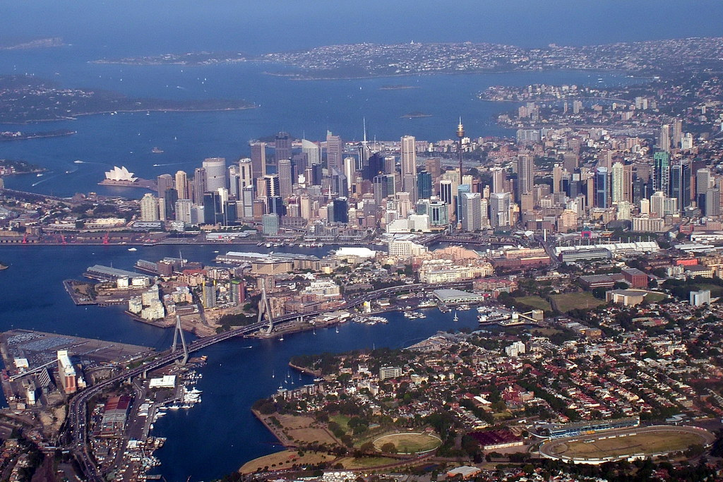 Sydney skyline from above | Our flight took us in a ...