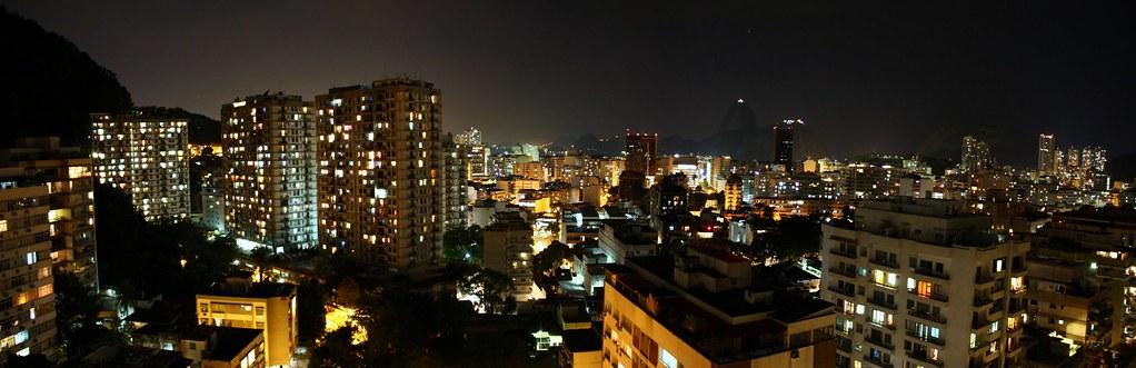 Panorama of botafogo at night rio de janeiro brazil for Miroir nightclub rio
