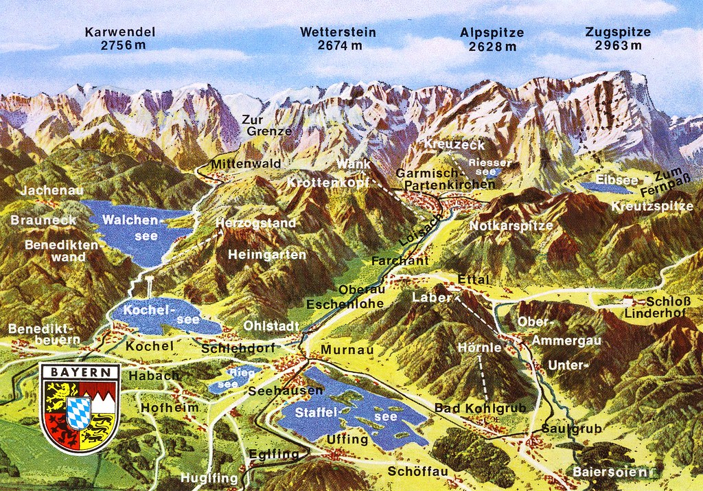 Bavarian Alps Map Card | Zugspitze is the highest mountain i… | Flickr