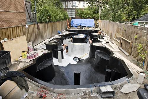 Koi pond construction paint 6 clarke smith flickr for Koi pool construction